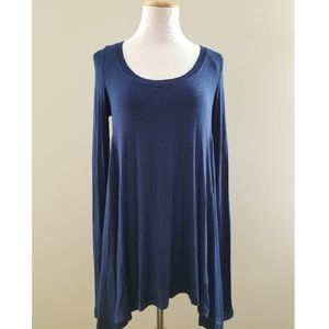 Free People Navy Fine Ribbed Long Scoop Tunic S